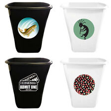 FC891 NEW LOGO THEMED WHITE or BLACK TRASH CAN WASTE BASKET RECYCLE BIN