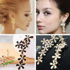 Crystal Rhinestone Flower Tassel Long Dangle Earrings Wedding Party New 2 Colors