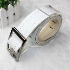 New Unisex Mens Womens Buckles Perforated Faux Leather Buckle Belt QW