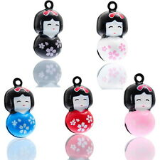 5PCs Copper Japan Doll Cartoon Xmas Jingle Bell Pendants Charms 27mm x14mm