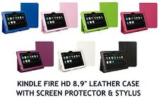 LEATHER STAND CASE COVER FOR KINDLE FIRE HD 22.6cm SCREEN PROTECTOR & STYLUS