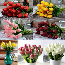 Lot Real Touch PU Tulips Flower Single Stem Bouquet Home Centerpiece Decor