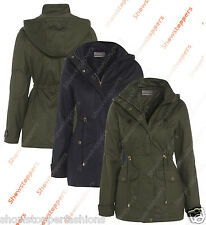 NEW Womens Hood PARKA Ladies WAX JACKET COAT Quilted Lined Size 8 10 12 14 16