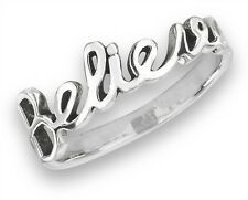 Inspirational Sterling Silver Scripted BELIEVE Fashion Jewelry Ring Size 6-9