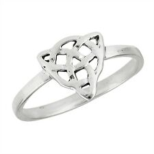 Sterling Silver Celtic Triquetra Knot Triad Pattern Fashion Ring Irish Size 3-8