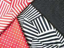 """100% SMOOTH COTTON SEWING FABRIC,44"""" WIDE,NAVY,RED WHITE,SPOT,STRIPE,DRESS,CRAFT"""