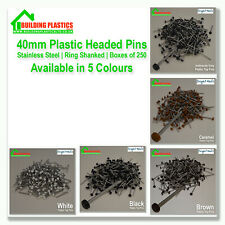 250 x 40mm Plastic Top UPVC  Pins Nails Plastic Headed  stainless Steel