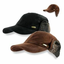 Stetson Suede Leather Ball Cap, Earflaps Sherpa, Brown/Black M L XL Hat Hunting