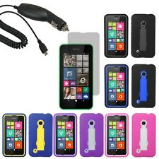 Tough Hard Shell Stand Cover Case For TMobile Nokia Lumia 530 LCD Car Charger