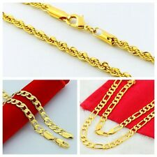 24K Yellow Gold Plated Mens Twisted Rope Figaro Curb Chain Necklace 3mm to 10mm