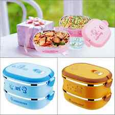 Cartoon Children Bento Insulated Lunch Box Stainless Steel Container Two Layers