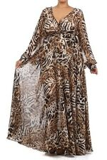 PLUS SIZE MAXI DRESS ANIMAL PRINT WRAP DRESS FULL LONG SLEEVE GOWN SIZE LARGE-3X