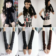 New Women Pair of Stretchy Arm Warmers Knit Long Fingerless Gloves Mitten Winter