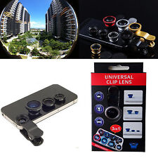 3in1 180° Fish eyeWide Angle Macro Camera Photo Zoom Len clip Kit for cell phone