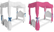 FC2 GIRLS FULL SIZE PRINCESS BED DRAPE CANOPY CURTAINS FABRIC TOP COVER RUFFLED