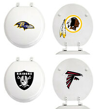 FC312 NFL LOGO TEAM THEME WHITE FINISH MOLDED WOOD ROUND TOILET SEAT COVER LID