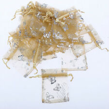 100pcs butterfly Gauze Organza Wedding Jewelry Bag party bag 7x9CM many colors
