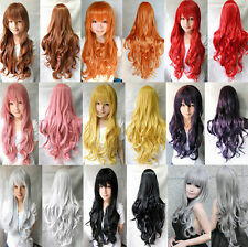 9color Heat Resistant 80cm Long Wavy Curly Cosplay Wigs Full Wig Fancy Dress Wig