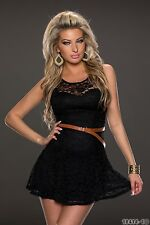 Party Club Wear Cocktail High Quality Lace with Belt Mini Dress UK size 8-10