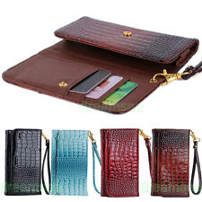 Deluxe Crocodile Design Bag Wallet Leather Skin Case Cover For HTC One M7