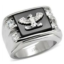 New Stainless Steel Men's Eagle CZ Ring - Sizes 8-13