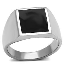 Classic New Stainless Steel Onyx Black Square Men's Ring - Sizes 8-13