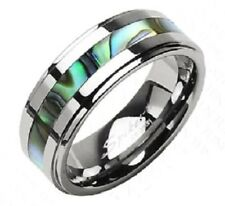 Tungsten Carbide Men or Women's Wedding Band Ring w/Abalone Inlay Sizes 5 - 13