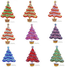 2015 Xmas Tree Christmas Sparkle Crystal Rhinestone Silver Brooch pins for gift