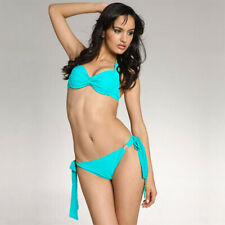 Ladies Underwire Halter Push Up Bikini Top Bottom Bathers Swimwear Aqua