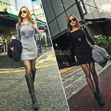 Sexy Women Off Shoulder Crew Neck Long Sleeve Slim Knit Knitwear Sweater Dress