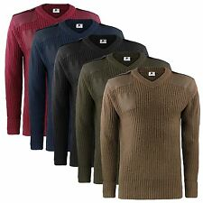 MENS SECURITY STYLE V-NECK JUMPER RIBBED KNIT EPAULETTE DETAIL SWEATER TOPS S-XL