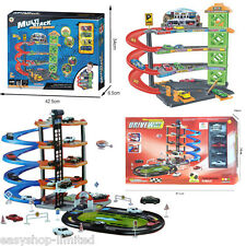 Kids Car Park Fire Station Garage Building Crane Die Cast Cars Set Toys Gift