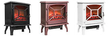 Free Standing Portable Electric Fireplace Firebox Heater w/ Log Flame Effect
