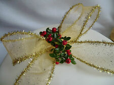 1 mtr 40mm QUALITY,WIRED SHEER GOLD AND SILVER SPARKLY & TINSEL CHRISTMAS RIBBON