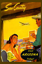 Sun Country Visit Arizona Today Travel Tourism Vintage Poster Repro FREE S/H