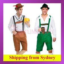 Mens German Bavarian Oktoberfest Beer Man Fancy Dress Costume Lederhosen Outfit