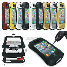 Heavy Duty Rugged Aluminum Metal Bumper Gorilla Glass Case Cover For iPhone 4 4S