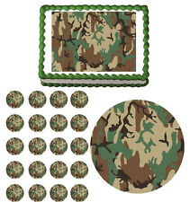 ARMY MILITARY CAMO Edible Birthday Party Cake Topper Cupcake Image Decoration