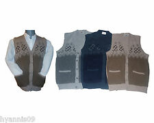 Mens Sleeveless Button Sweater Jumper Two Tone Cardigan/Jersey Tank Top M L XL