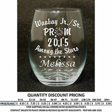 Personalized 5.5oz Stemless Wine Glass Prom Glasses Custom Engraved Formal Dance