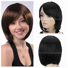 "12"" Oblique Bangs Short Straight Wig New Black Brown Wig Cosplay Free Shipping"