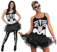 WOMEN'S SKELETON TUTU COSTUME HALLOWEEN FANCY DRESS INC BONE PRINT TIGHTS XS-XL
