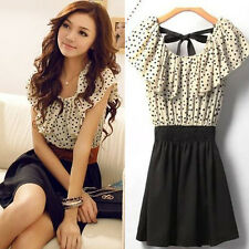 Without Belt! Womens Short Sleeve Chiffon Dots Polka Waist Dress Elegant