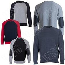 Mens Sweatshirt Crew Neck Quilted Raglan Patched Sleeve Jumper Top Size S to XL