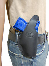 New Barsony Black Leather OWB Holster Springfield Compact, Sub-Compact 9mm 40 45