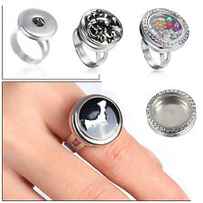 Men Women Punk Snap-It Chunk Button Floating Charms Locket For Snap Ring Jewelry