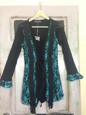 NWT PRETTY ANGEL Exquisite Teal Lace Silk Blend Corset BoHo Tunic Blouse Top