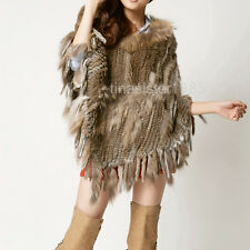 Wide Warm Lady Women Real Rabbit Fur Raccoon fur Knit Cape Cappa Cloak Poncho