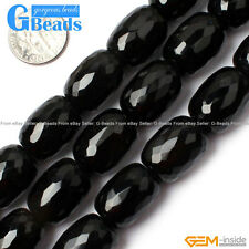 "Natural Black Agate Gemtone Column Faceted Beads For Jewelry Making 15"" 13x18mm"