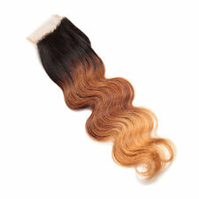 "Free Part Ombre Color Brazilian Human Hair Lace Top Closure(4""*4"") Body Wave Hot"